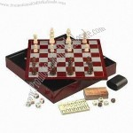 6-in-1 Board Game Set, Includes Checker, Poker Dices, Playing Cards, Chess, Backgammon and Domino