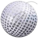 "6"" - Inflatable white golf ball with gray markings."