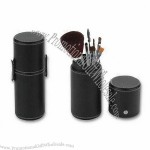 6-piece Makeup Brushes in Case with Aluminum Ferrule and Wooden Handle