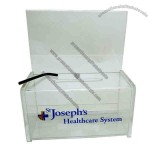 """6"""" x 3"""" x 2.75"""" - Clear acrylic coin box with 3"""" slot, riser and Allen wrench lock."""