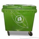 660L EN840 HDPE Garbage Bin with UV Additives 4 Wheels and 2 Brakes