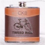 6oz Leather Hip Flask, Custom Laser Engraved