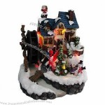 7-inch Polyresin Christmas Decoration with Rotating Water Mill and LED Lighting