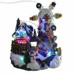 7-inch polyresin Christmas house with spinning snowflake windmill and LED lighting