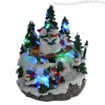7-inch Polyresin Christmas LED House with Santa, Kids and Rolling Water Mill