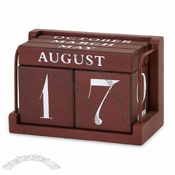 "... Wooden Calendar » 7"" Whimsical Wooden Dark Maroon Perpetual Desk"