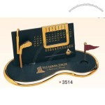 "7""X3-1/2""X3"" Gold Plated Perpetual Desk Calendar W/ Base"