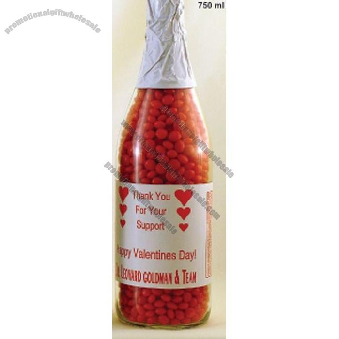 Rock Candy Filled Champagne Glasses: 750 Ml. Glass Champagne Bottle Filled W/Red Hots Candy