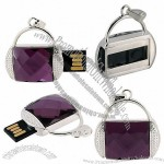 8GB Mini Bag Shaped Retractable High Speed USB2.0 Flash Drive with Diamond Decoration