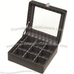 9 Piece Leather Cufflink Box with Stripe Lining