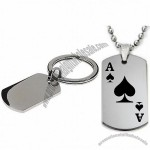 Ace Of Spades Dogtag Pendant Necklace w/Chain