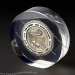 Acrylic Paperweight with Metal Coin/Badge Embedded