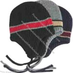 Acrylic rib knit helmet hat with stripe.