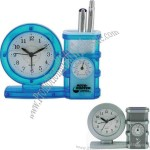 All-in-one clock, pen holder, temperature gauge and alarm.