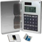 Aluminum business card holder calculator.