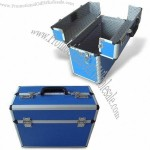 Aluminum Cosmetic Case with Blue Stripe ABS Surface