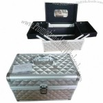 Aluminum Cosmetic Case with Diamond Pattern PVC Surface and Two Moveable Trays Inside