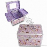 Aluminum Cosmetic Case with Mirror in Upper Lid and Two Removable Trays