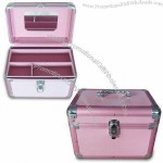Aluminum Cosmetic Case with Pink Diamond Pattern ABS Surface