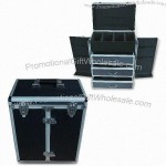 Aluminum Cosmetic Case with Three Drawers and Dividers Inside