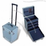 Aluminum Cosmetic Case with Trolley and Mirror Inside