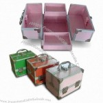 Aluminum Cosmetic Cases with Square Metal Corners and Black Cloth Lining