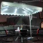Aluminum Outdoor Solar LED Light Umbrella with One Hand Crank Lift System