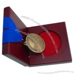 Antique Gold Medals and Trophies Medal Engraved Old Finishing Medal Just The Beginning Medal with Real Wood Medal Box