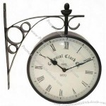 Antique Look Double Sided Wall Metal Clock