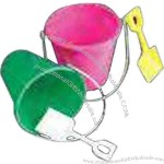 """Assorted 8"""" Plastic beach pail and shovel."""