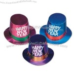 Assorted color foil hi-hat with silver glittered Happy New Year.