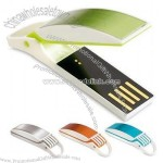 "Attractive USB Flash Drive with hinged ""clam"" style cover and useful keyring attachment"