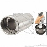 "Auto Adjustable Clamp On Type 2.5"" Inlet Exhaust Muffler Tip Silver Tone"