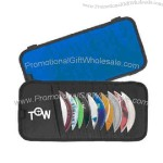 Automotive visor CD case with pen loop.