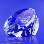 Award- Standing Optical Crystal Faceted Dome and Paperweight