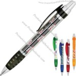 Ballpoint pen with clear barrel and full color paper insert.