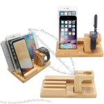 Bamboo apple iWatch iPhone iPad three-in-one mobile phone holder
