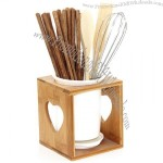 Bamboo & Ceramic Chopstick Pot