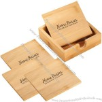 Bamboo Four-Piece Coaster Set