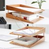 Bamboo Multi-Tier Desk Organizer Tray Letter File Holder