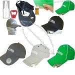 Baseball cap with bottle opener.