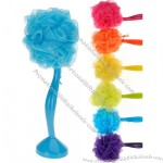 Bath Shower Exfoliating Body Puff Wash Sponge Scrub Scrubber with Plastic Handle