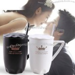 Black And White Lovers Mug With Lid And Spoon
