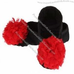 Black Canvas Ballet Shoes with Red Flower