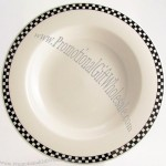 Black Checkers 20 oz. Creamy White / Off White China Pasta Bowl