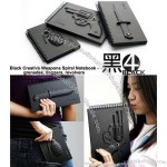 Black Creative Armed Weapons Spiral Notebook - grenades, daggers, revolvers
