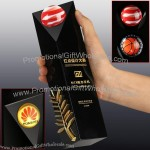 Black Crystal Award With Gold Palm Branch Decoration