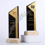 Black Crystal Inlaid Aluminum Trophy With Marble Base