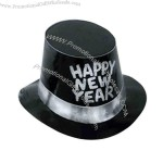 Black foil hi-hat with glittered Happy New Year