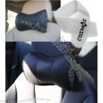 Black Leather Dog Bone Shape Car Neck Pillow/cushion with Cosmos Fastening Strap